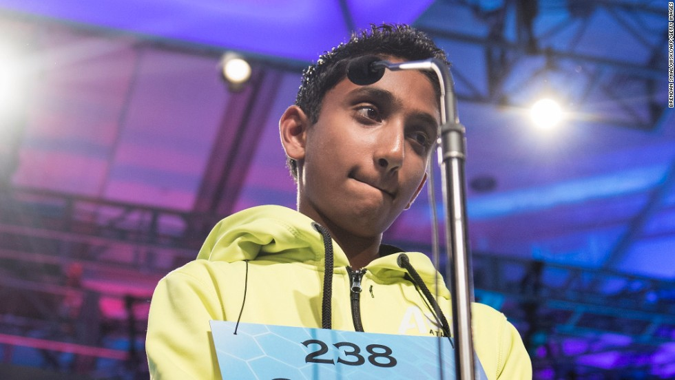 "Chetan G. Reddy, representing Texas, reacts after misspelling ""kaburi,"" a land crab common to mangrove swamps, during the championship round on May 30."