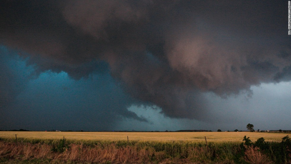Storm clouds that produced a tornado roll through near El Reno on May 31.