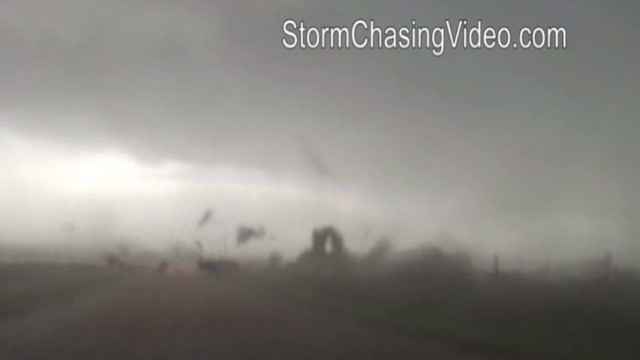 Storm chasers get close to storm