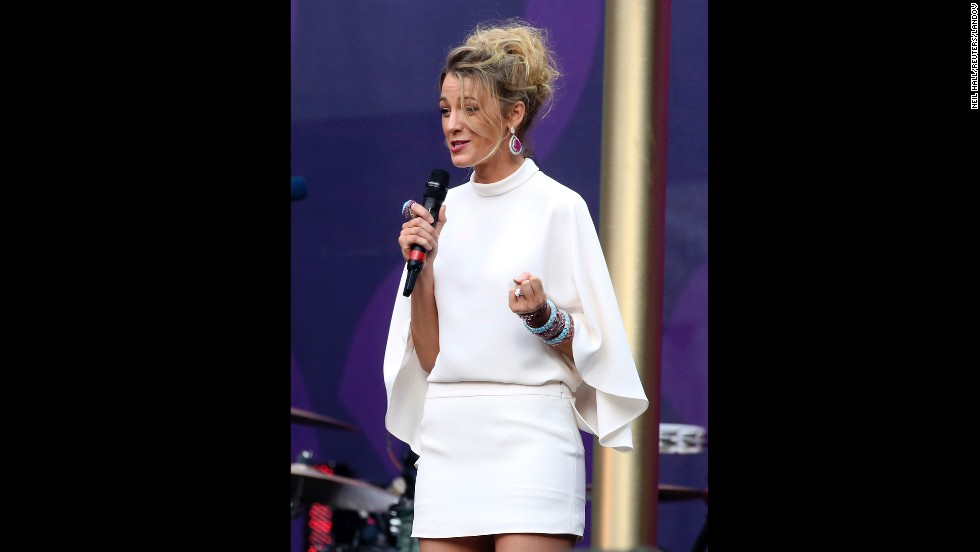 Actress Blake Lively speaks. After the concert she said that only learned of the organization about five months prior to the concert and was impressed with the amount of change it has been able to affect.