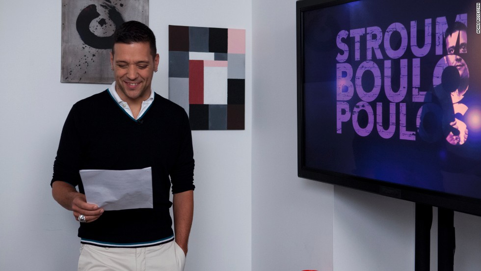 Strombo hangs out in the green room before taping the premiere.