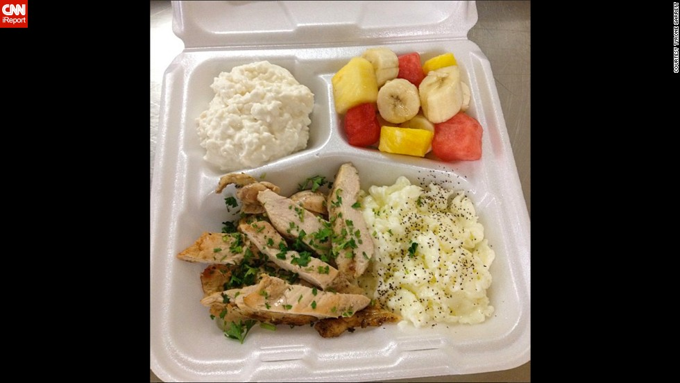 A typical breakfast includes grilled chicken, egg whites, fresh fruit and cottage cheese.
