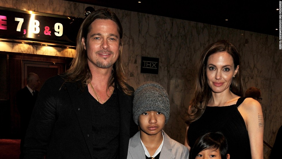 "Brad Pitt and Angelina Jolie attend the premiere of Pitt's ""World War Z"" in London on June 2 with sons Maddox and Pax."