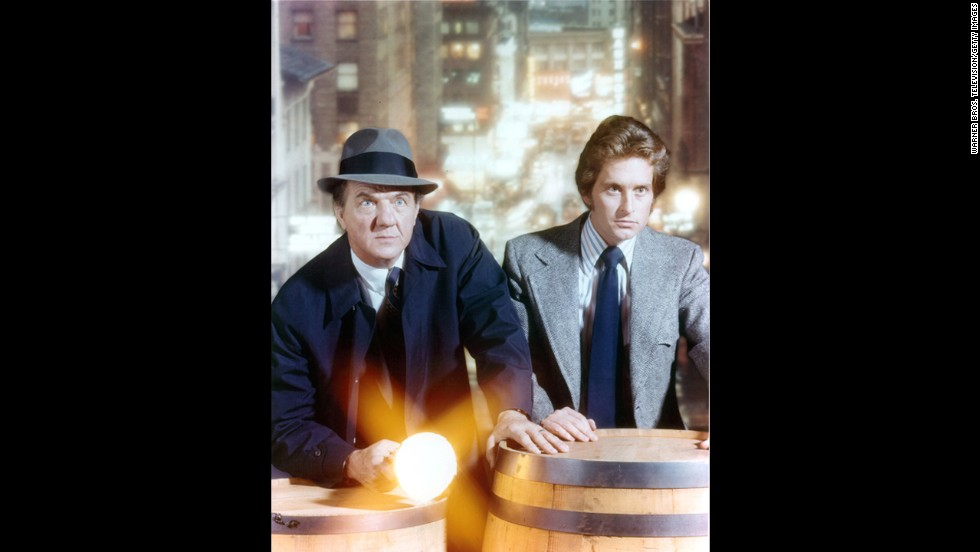 "From 1972 to 1976, Douglas starred in the television series, ""Streets of San Francisco."" Here, he is on set with co-star Karl Malden."