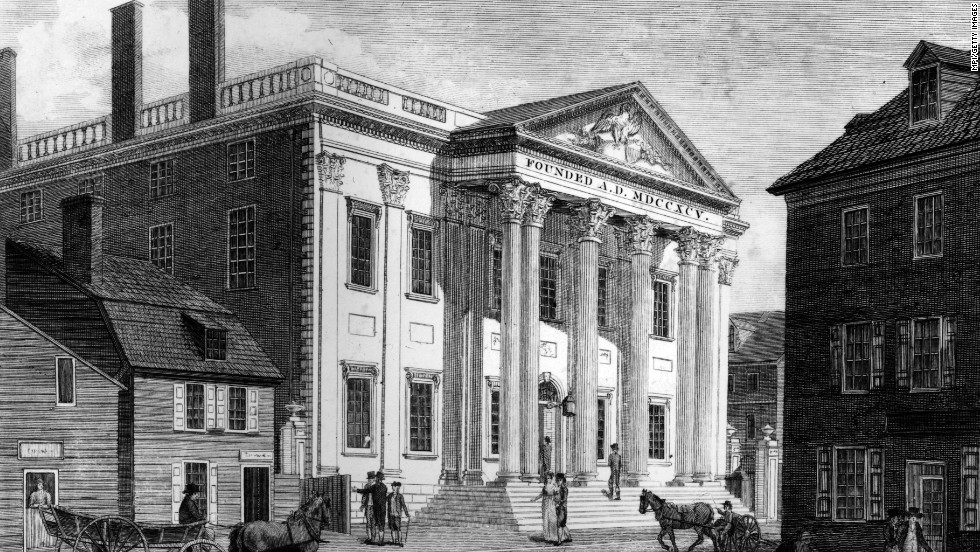 <strong>McCulloch v. Maryland (1819):</strong> In response to the federal government's controversial decision to institute a national bank in the state, Maryland tried to tax the bank out of business. When a federal bank cashier, James W. McCulloch, refused to pay the taxes, the state of Maryland filed charges against him. In McCulloch v. Maryland, the Supreme Court ruled that chartering a bank was an implied power of the Constitution. The first national bank, pictured, was created by Congress in 1791 in Philadelphia.