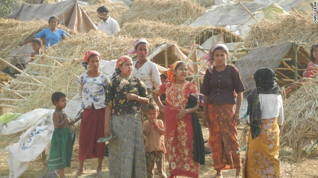 Muslim Rohingya people pictured at a makeshift camp in Sittwe, Myanmar in May 2013.