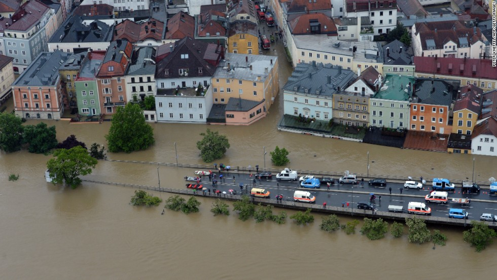 Streets in Passau, Germany, were flooded after the River Danube topped a centuries-old record.