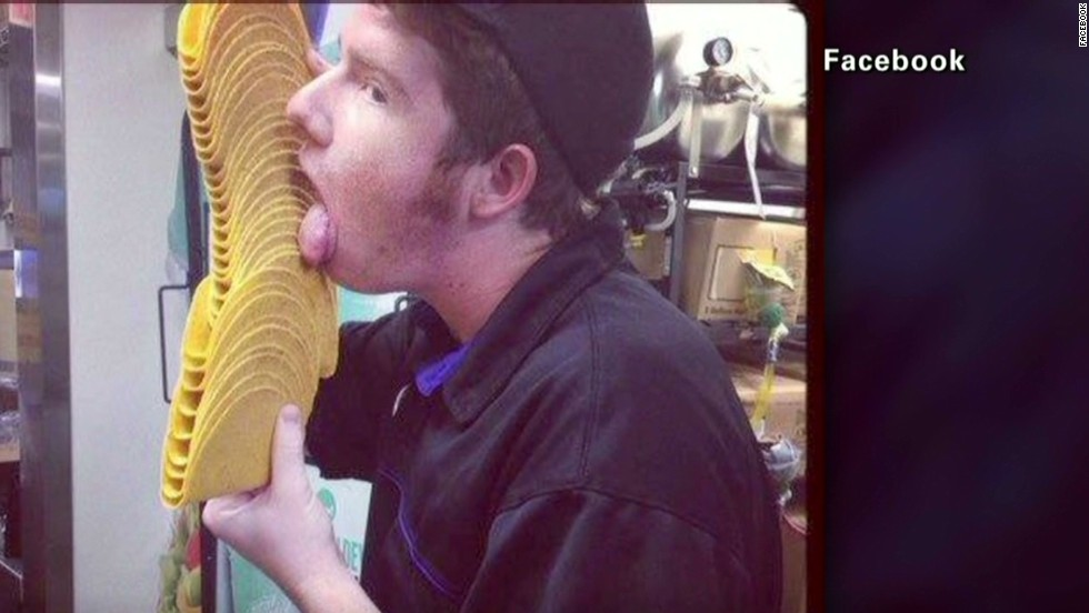 "Also in June, 2013, a Taco Bell employee was photographed licking a stack of shells that the company claimed were used for a training exercise. The photo went viral, the man in the picture was let go and the employee who posted it on social media ""no longer works there."""