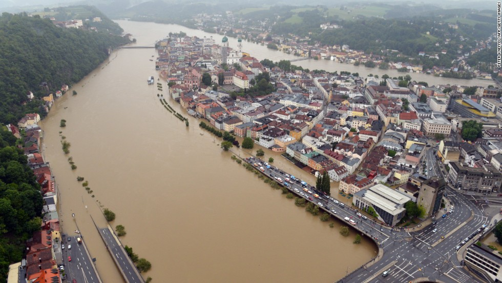 Some streets are underwater in the old city in Passau, Germany, on Monday, June 3, due to heavy and ongoing rainfall.