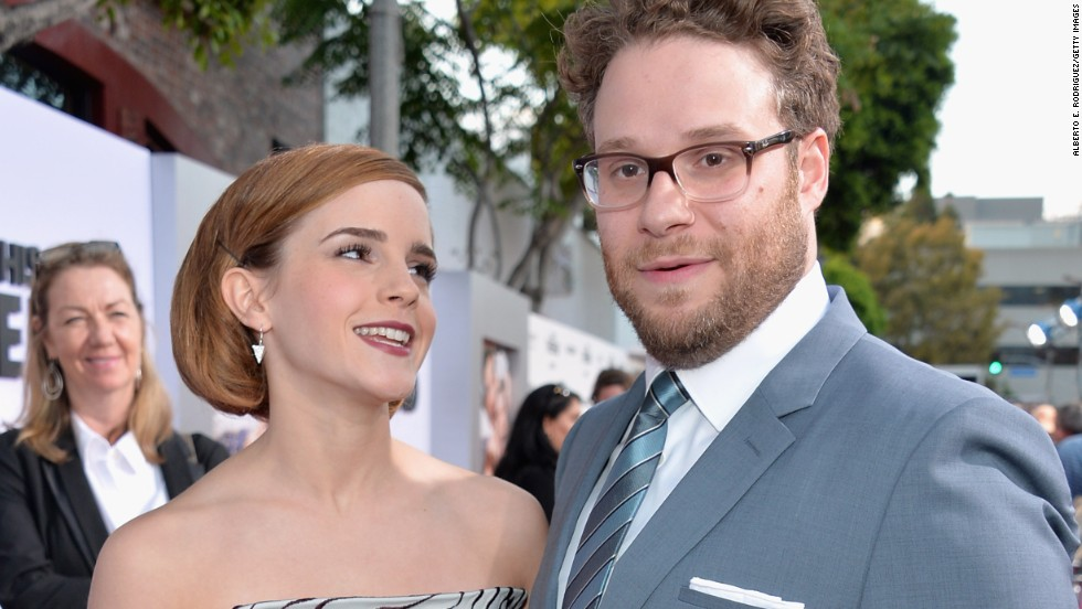"Emma Watson and Seth Rogen attend the premiere of their new movie, ""This Is The End,"" on June 3."