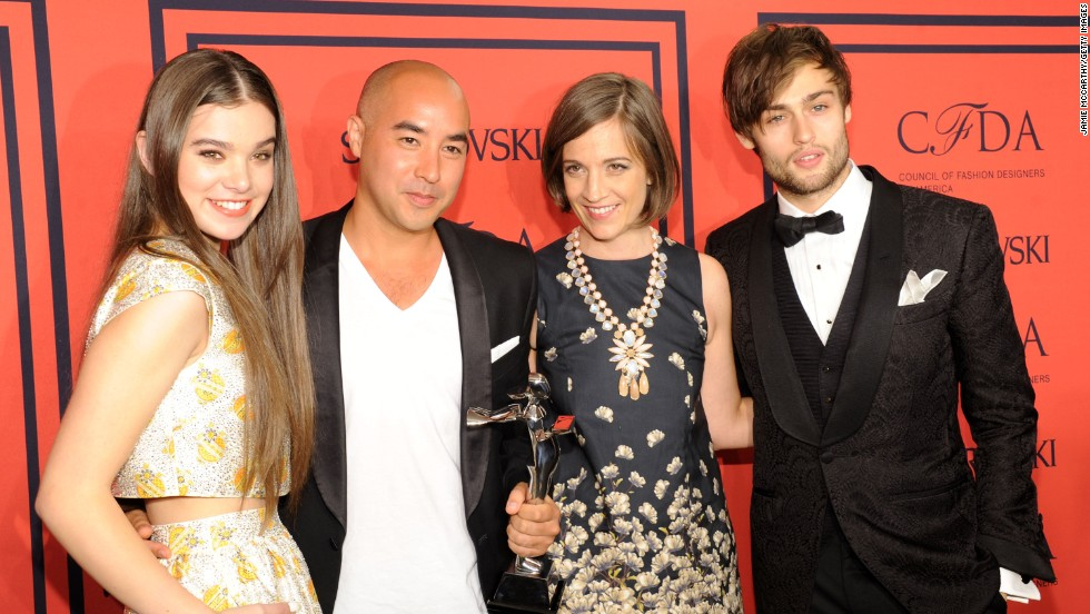 "The Council of Fashion Designers of America gets together each year for ""<a href=""http://www.whowhatwear.com/shop-the-cfda-awards-nominees"" target=""_blank"">the Oscars of fashion</a>,"" the CFDA Fashion Awards. From left to right, actress Hailee Steinfeld joins SUNO designers <a href=""http://cfda.com/designer/suno"" target=""_blank"">Max Osterweis and Erin Beatty </a>and actor Douglas Booth on the red carpet in New York on June 3. Osterweis and Beatty received the Swarovski Womenswear Designer of the Year, which recognizes emerging talent."