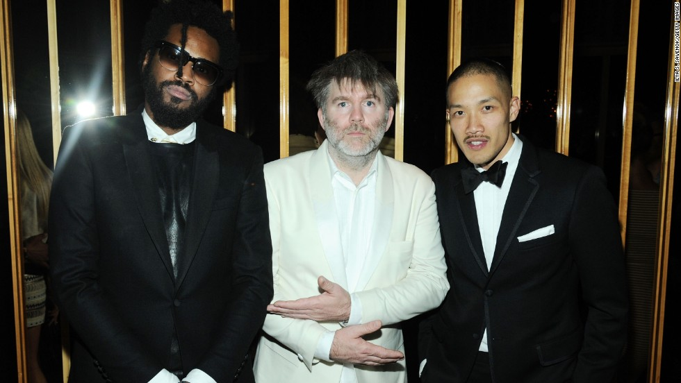 "Musician James Murphy, center, rubs elbows with designers Dao-yi Chow, right, and Maxwell Osborne of <a href=""http://cfda.com/designer/public-school"" target=""_blank"">Public School</a>, winners of the Swarovski Award for Menswear recognizing emerging talent."