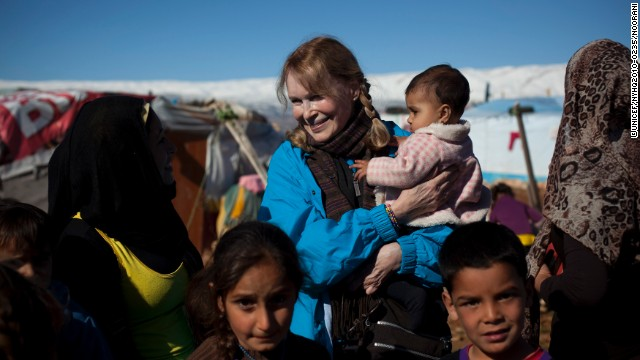 UNICEF Goodwill Ambassador Mia Farrow met with Syrian refugees in January, 2013.