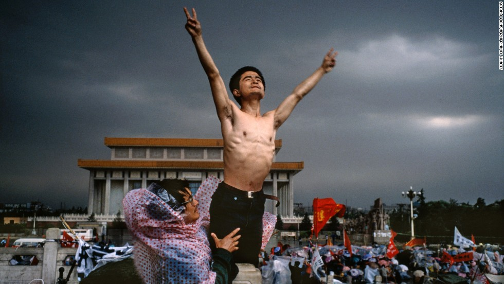 Young Chinese demonstrators protest official corruption and urge democracy in Beijing's Tiananmen Square in 1989.