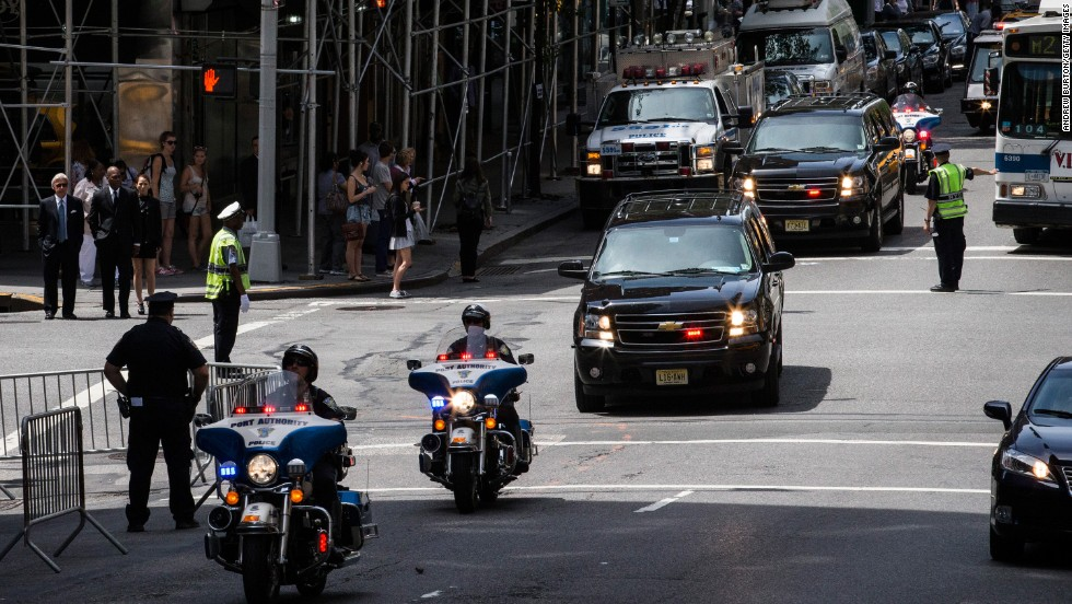 New Jersey Gov. Chris Christie arrives in a motorcade for Lautenberg's funeral at the Park Avenue Synagogue in New York on Wednesday, June 5.