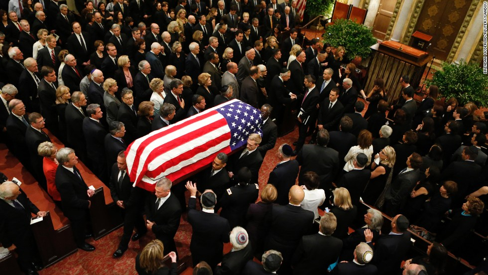 Lautenberg's casket is carried from the synagogue after the service.