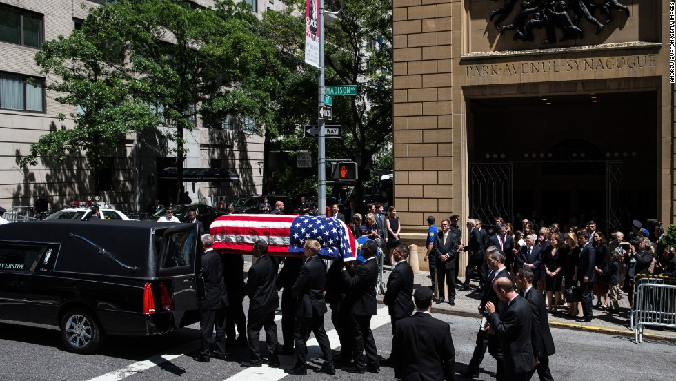 Lautenberg's casket is loaded into a hearse after the funeral.