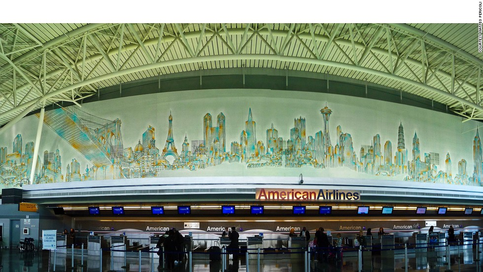"""Skyline of the World"" is a 121-meter-long mural by New York artist Matteo Pericoli that combines New York landmarks with iconic buildings from around the globe. It can be seen at the American Airlines terminal at New York's JFK Airport. <br />"