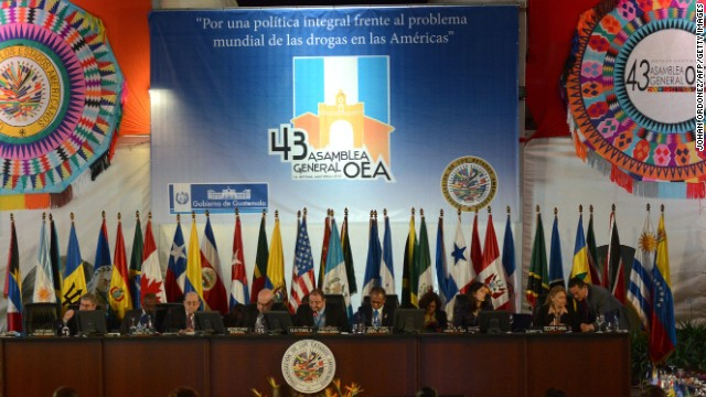 View of the 1st meeting of the XLIII General Assembly of the Organization of American States in Antigua Guatemala, 50 km southwest of Guatemala City on June 5,2013.