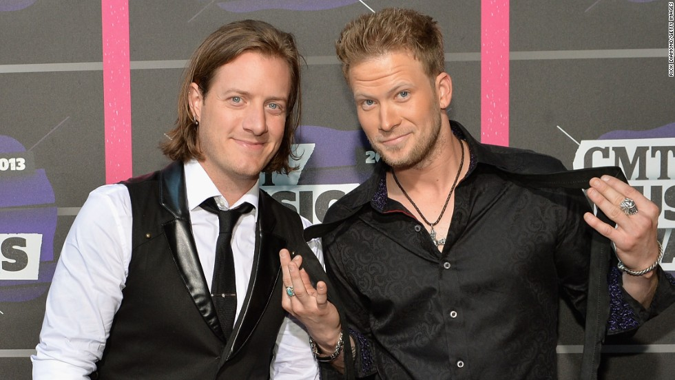 Musicians Tyler Hubbard, left, and Brian Kelley, right, of Florida Georgia Line
