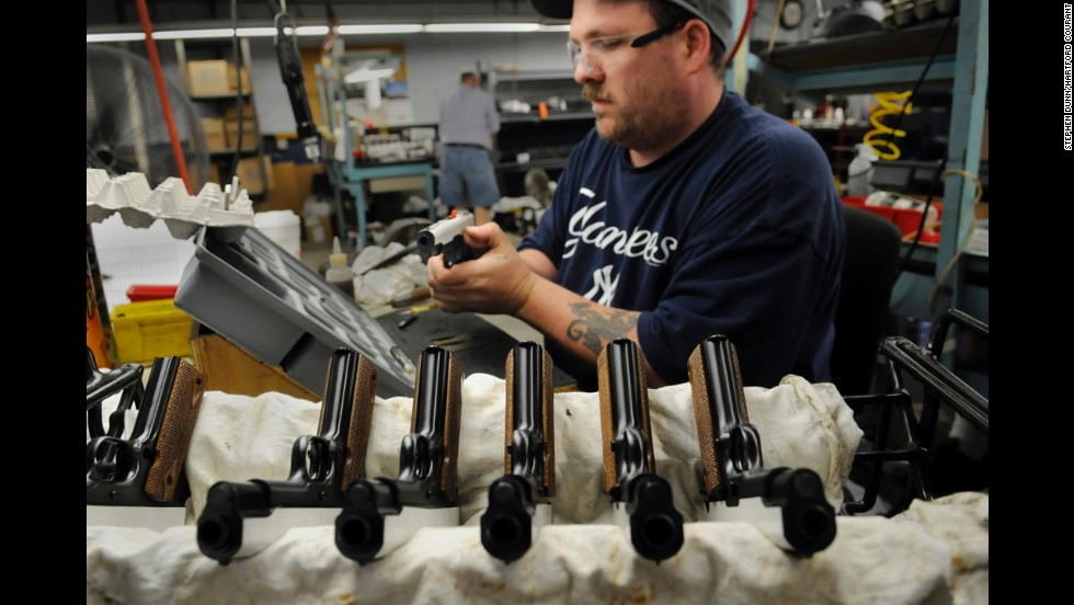 Al Cromwell of East Hampton, a Colt firearms assembler, works on the Colt .45 ACP model 1918, a civilian model. For the first time in several decades, a military-spec Colt .45 pistol will be sold to the U.S. military as the sidearm for a select group of U.S. Marines.