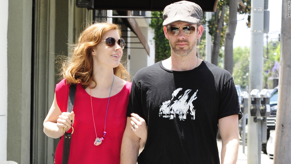 """Man of Steel"" actress Amy Adams walks with fiancé Darren Le Gallo in West Hollywood on June 5."