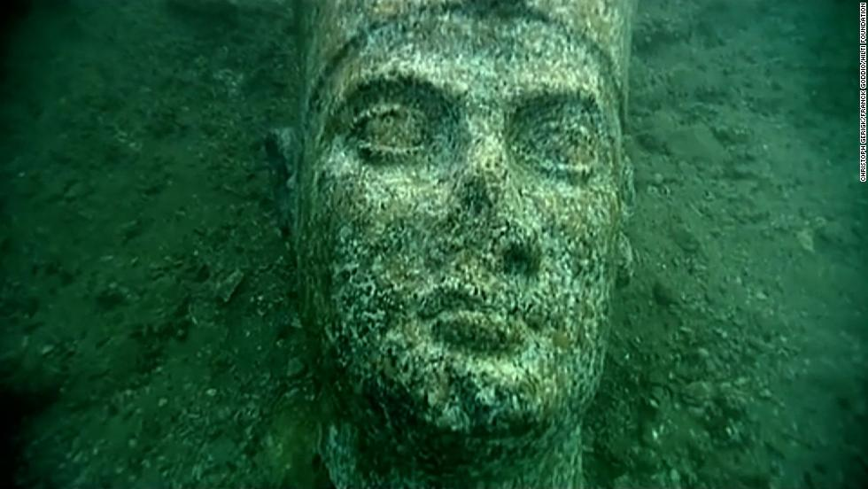 Statue found underwater in the ruins of Heracleion.