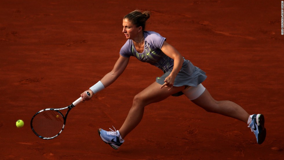 Sara Errani of Italy plays a forehand against Serena Williams on June 6.