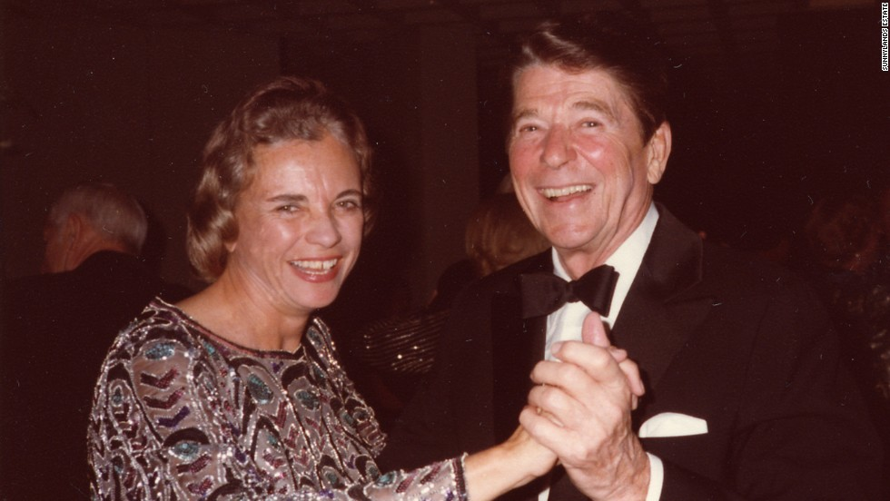 Supreme Court Justice Sandra Day O'Connor dances with President Ronald Reagan at Sunnylands, a 200-acre estate in Rancho Mirage, California, in this undated photo from the retreat.