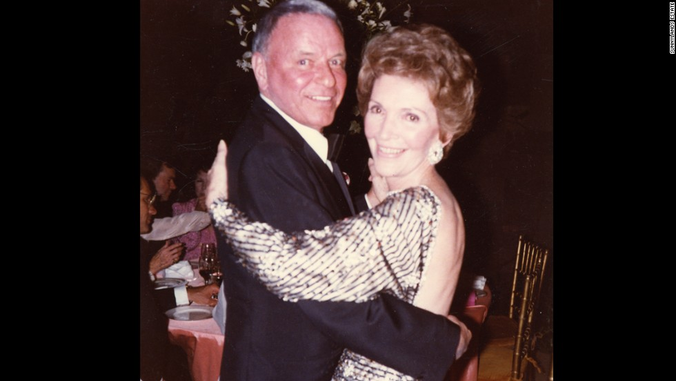 Frank Sinatra dances with first lady Nancy Reagan on New Years Eve in 1981.