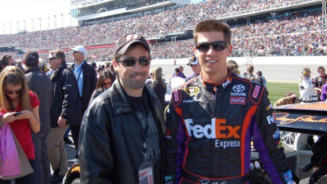 Denny Hamlin with his cousin Kevin Jones, who suffers from cystic fibrosis.
