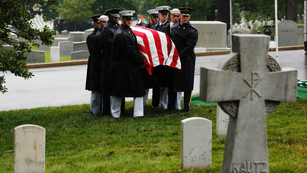 "The late Sen. Frank Lautenberg is laid to rest with military honors at Arlington National Cemetery in Virginia on Friday, June 7. Lautenberg, a New Jersey Democrat,  died Monday, June 3, at 89. He was the <a href=""http://www.cnn.com/2013/06/03/politics/obit-lautenberg/index.html"">Senate's last surviving World War II veteran</a>."