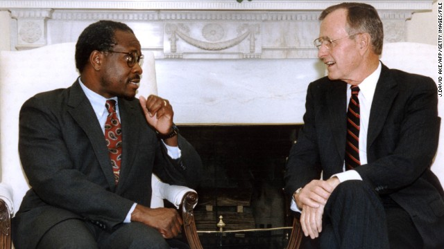 Thomas with then-President George H.W. Bush after he appointed Thomas to the Supreme Court in 1991.