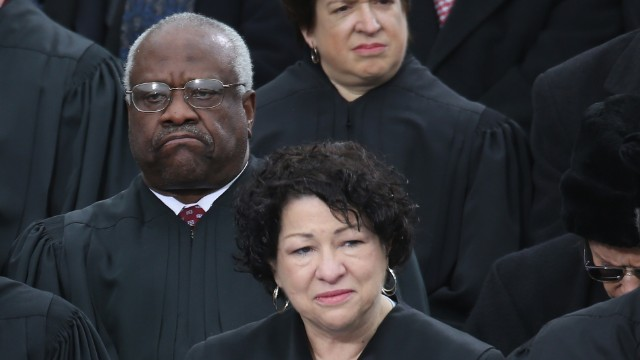 Thomas at Obama's 2013 inauguration with Justice Sonia Sotomayor, who said affirmative action changed her life.