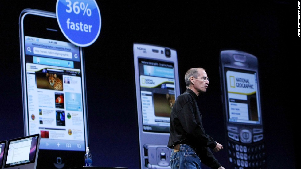 Apple CEO Steve Jobs launched the iPhone 3G, and compared it to other phones, at the 2008 WWDC. He also introduced the App Store, which would open to the public the next month and has served more than 50 billion downloads to date.