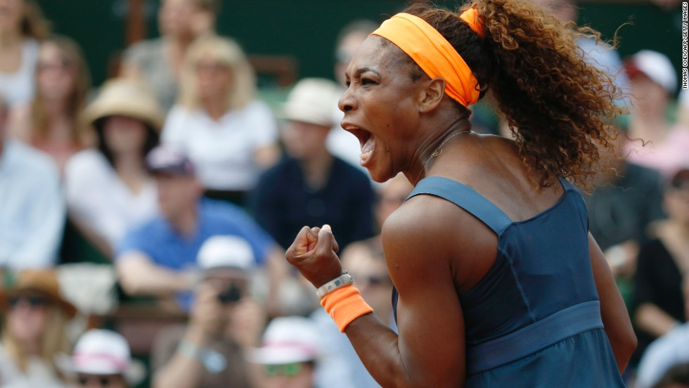 Williams reacts after a point against Sharapova during their match.