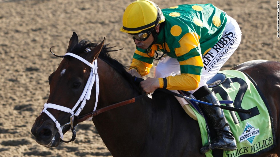 Palace Malice with jockey Mike Smith in the irons wins the 145th running of the Belmont Stakes, the final leg of horse racing's triple crown, at Belmont Park in Elmont, New York, June 8.