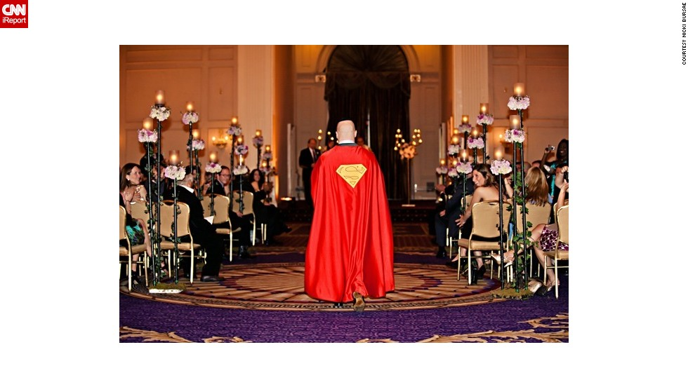 "On his wedding day in 2011, <a href=""http://ireport.cnn.com/docs/DOC-984108"">Robert Levine</a> donned a Superman cape while walking down the aisle. The orchestra played the John Williams score from 1978's ""Superman: The Movie."" He said he wanted to wear the cape because Superman has always inspired him. ""He represents the good in all of us,"" he said. After the ceremony, wedding guests couldn't help but talk about Levine's fashion choice. ""All the speeches at the wedding ended up revolving around my infatuation with the Man of Steel, but to me, I just wanted to honor the iconic legend,"" he said."