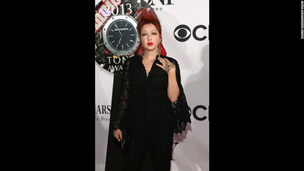 "Cyndi Lauper, Tony nominee for the ""Kinky Boots"" score, works the red carpet."