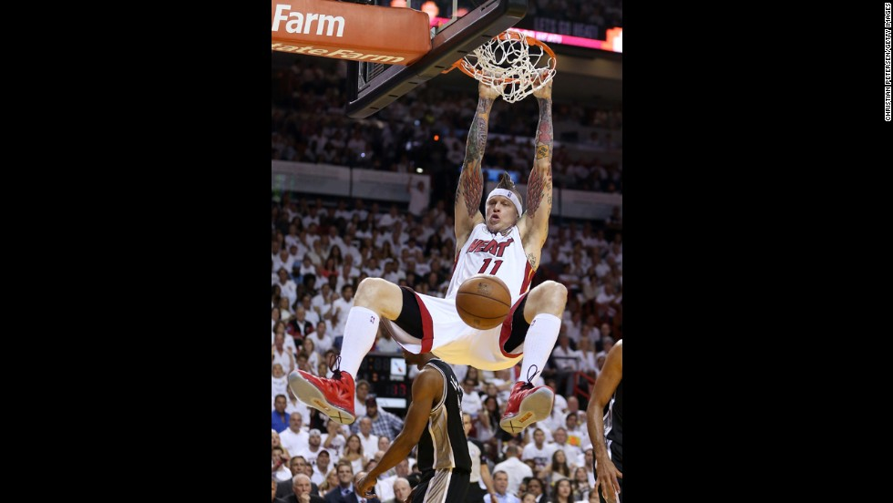 Chris Andersen of the Miami Heat dunks the ball in the first quarter against the San Antonio Spurs.