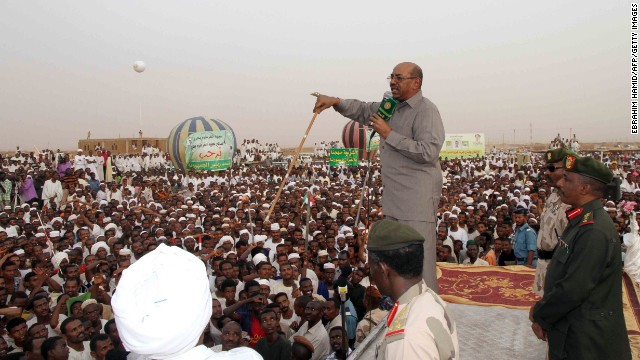 Sudanese president Omar al-Bashir speaks to a crowd in north Khartoum on Saturday.