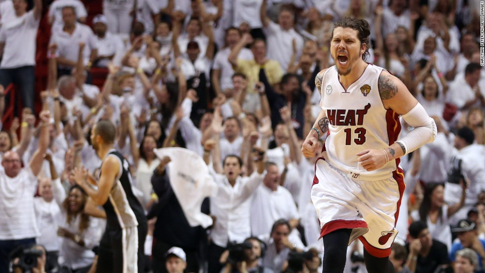 "Mike Miller of the Miami Heat reacts after making a three-pointer in the fourth quarter against the San Antonio Spurs during Game 2 of the 2013 NBA Finals on Sunday, June 9, in Miami. The Heat defeated the Spurs 103-84 to tie the series 1-1. <a href=""http://www.cnn.com/2013/06/06/us/gallery/nba-finals-game-1/index.html"">See photos from Game 1</a>."