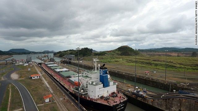 A ship passes through the Miraflores Locks on the Panama Canal.