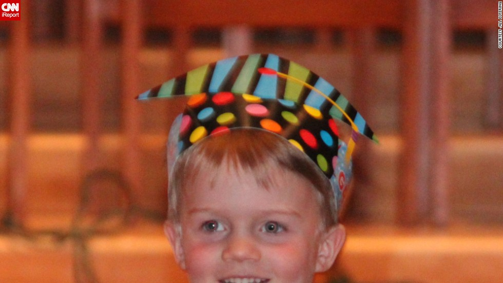 "Jill Elfering said her son <a href=""http://ireport.cnn.com/docs/DOC-983982"">Mac's graduation</a> from Blessed Trinity Catholic Preschool in Minneapolis was a ""precious yet simple"" sendoff to kindergarten. The kids processed in with their paper graduation hats, and their teacher talked about the year and the students' accomplishments, highlighting their three main themes: ""I'll try,"" I'll do my best"" and ""I'm washable.""  After the ceremony, there was a small reception with lemonade and Rice Krispie bars."