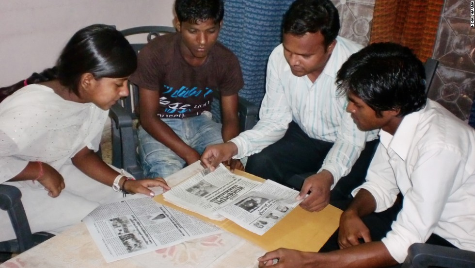 Chandni (left) with other members of the Balaknama quarterly working on their 10th Anniversary Edition.