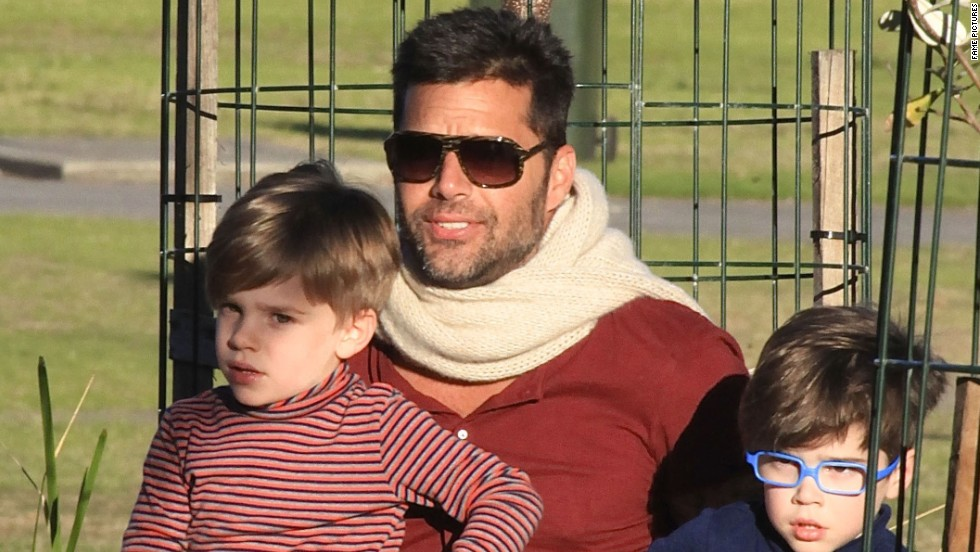 Ricky Martin takes his twin boys, Matteo and Valentino Morales, to a Sydney, Australia, park in May.