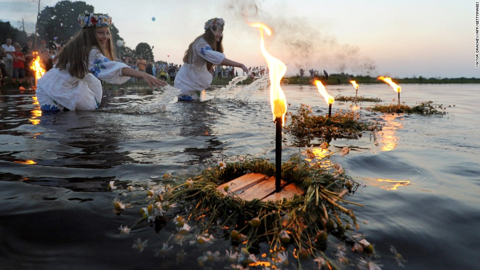 In neighboring Belarus girls place candle offerings into rivers as they celebrate Ivan Kupala Day. The pagan tradition has been accepted into the Orthodox Christian calendar.