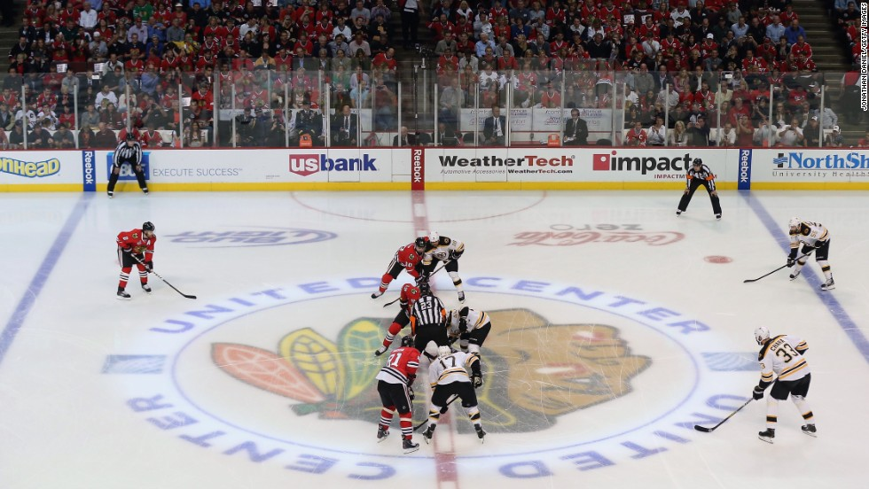 The Chicago Blackhawks face off against the Boston Bruins at the United Center in Chicago.