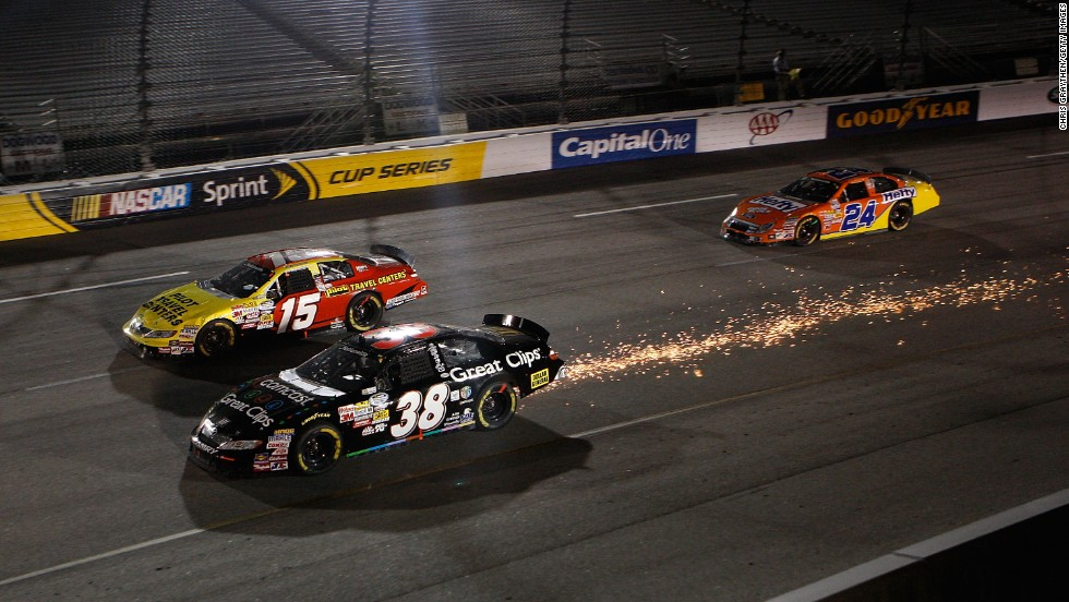 Sparks fly from Leffler's #38 car during the NASCAR Nationwide Series Virginia 529 College Savings Plan 250 at Richmond International Raceway in Richmond, Virginia, on September 11, 2009.