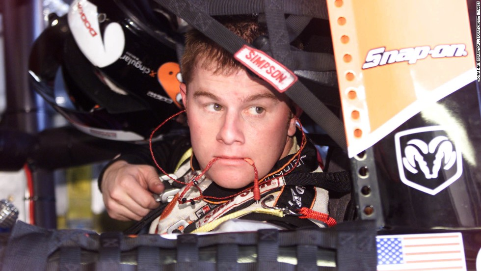 Leffler sits in his car during practice for the NASCAR Winston Cup Series Protection One 400 at Kansas Speedway in Kansas City, Kansas, on August 29, 2001.